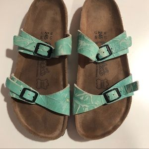 Birkenstock's Birkis Teal Sandals Size 38